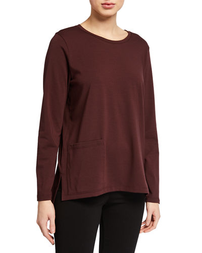 Petite Jersey Round-Neck Long-Sleeve Top with Pocket