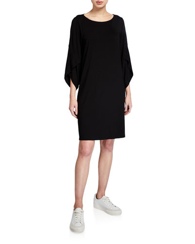 Eileen Fisher Plus Size Ballet-Neck 3/4-Sleeve Shift Dress