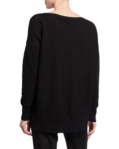 Eileen Fisher Organic Linen Crepe Bateau-Neck Sweater