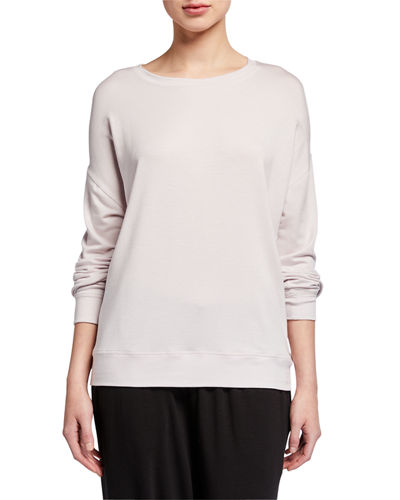 Eileen Fisher Plus Size Round-Neck Long-Sleeve Jersey Box Top