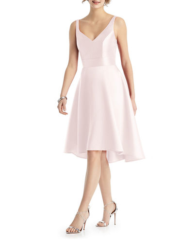 V-Neck Sleeveless Sateen Twill Cocktail Dress
