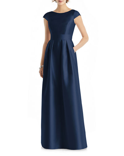 Bateau-Neck Cap-Sleeve A-Line Sateen Twill Gown