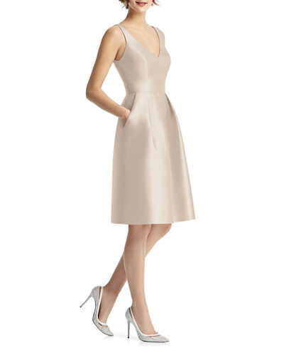 Alfred Sung V-Neck Sleeveless Sateen Twill Cocktail Dress w/ Pockets