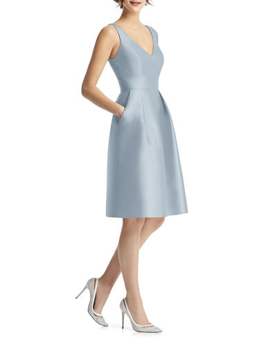 V-Neck Sleeveless Sateen Twill Cocktail Dress w/ Pockets