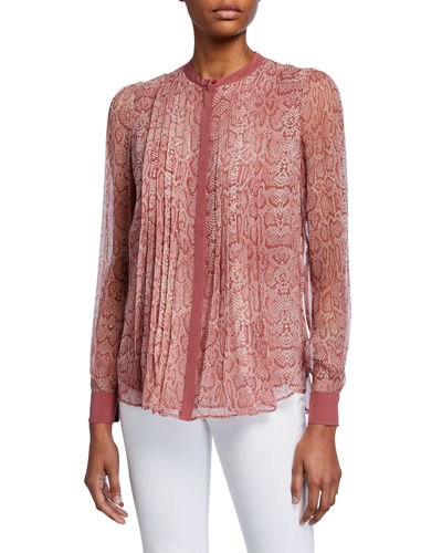 Tassa Pleated Snake-Print Top