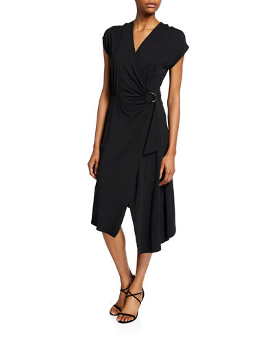 Anjula Draped Short-Sleeve Wrap Dress