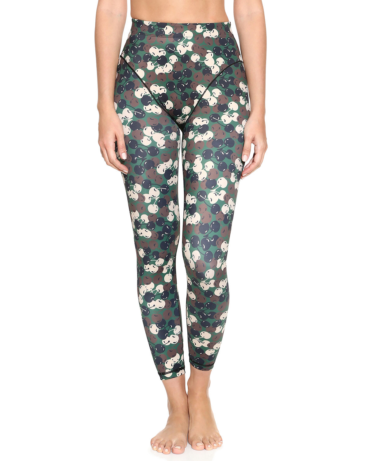 Cherry-Print French-Cut Leggings