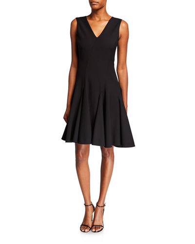 V-Neck Sleeveless Compact Knit Fit-and-Flare Dress