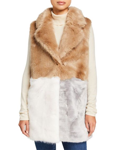 Heurueh Colorblock Faux Fur Vest