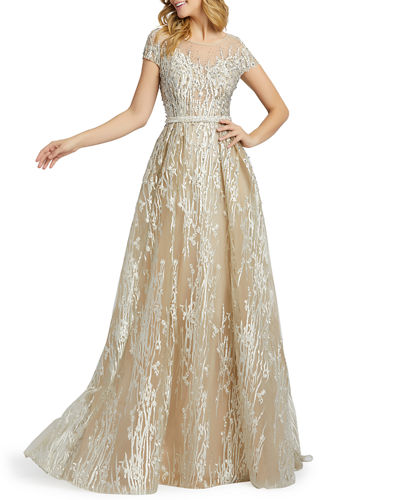 Illusion Cap-Sleeve Novelty Fabric Gown