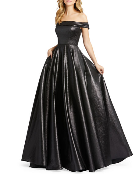 Image 1 of 2: Mac Duggal Off-the-Shoulder Metallic Ball Gown with Pockets