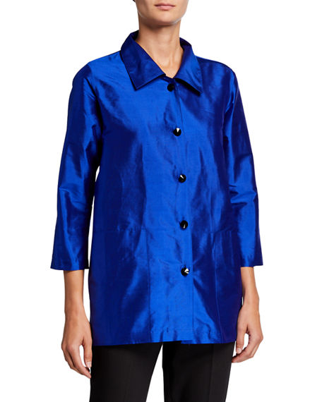 Image 1 of 3: Caroline Rose Plus Size Silk Shantung Occasion Shirt