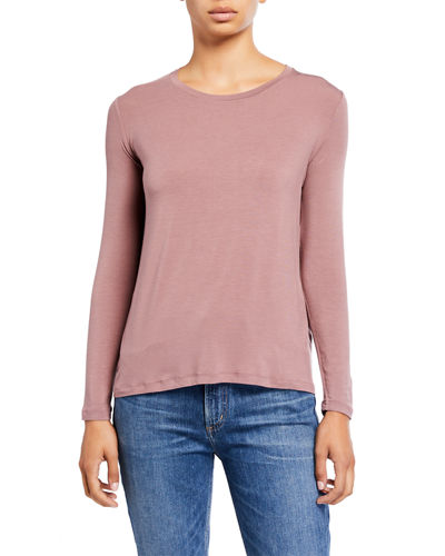 Crewneck Long-Sleeve Swing Tee w/ Back Pleat