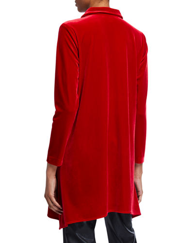 Caroline Rose Petite Button-Front Long-Sleeve Stretch-Velvet Side-Fall Shirt