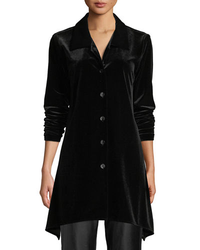 Plus Size Button-Front Long-Sleeve Stretch-Velvet Side-Fall Shirt