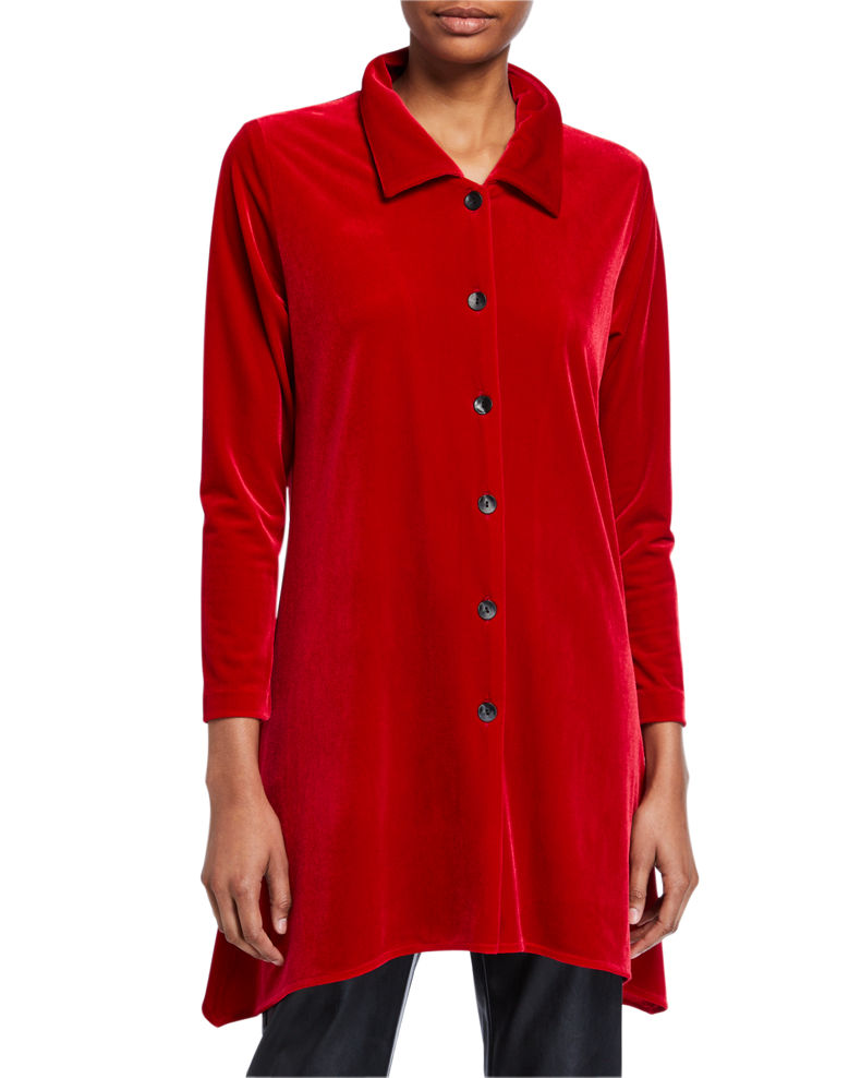 Caroline Rose Plus Size Button-Front Long-Sleeve Stretch-Velvet Side-Fall Shirt