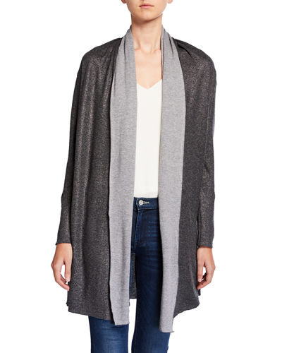 Metallic Double Face Open-Front Cardigan