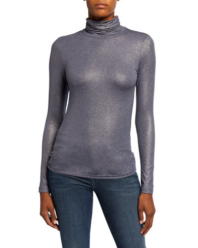 Soft Touch Metallic Long-Sleeve Turtleneck Top