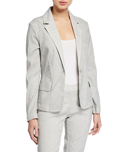 Linen-Cotton Short Long-Sleeve Blazer