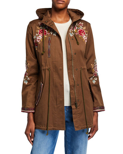 Valentina Hooded Military Jacket with Embroidery