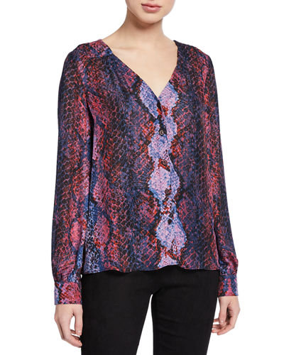 Sachi Printed V-Neck Button-Front Blouse