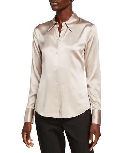 Perfect Fitted Stretch Silk Satin Button-Down Shirt