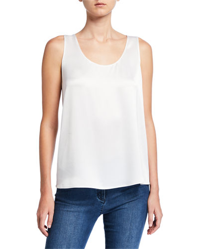 St. John Collection Liquid Satin Scoop-Neck Shell