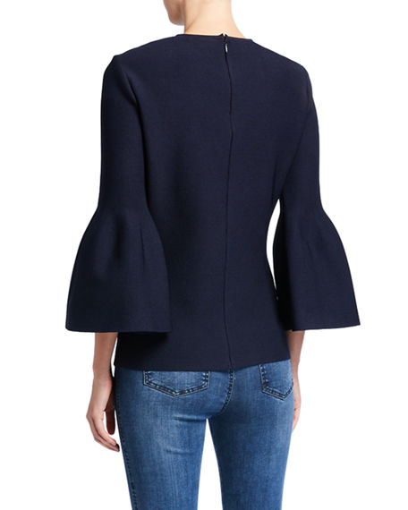 Image 2 of 2: St. John Collection Sculptural Milano Knit 3/4 Bell-Sleeve Top