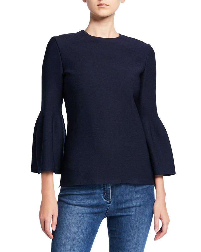St. John Collection Sculptural Milano Knit 3/4 Bell-Sleeve Top