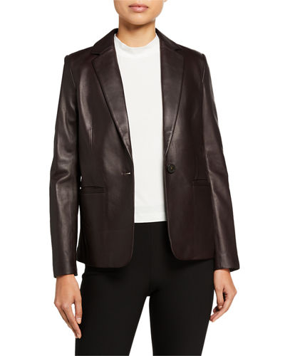 Fitted Leather Blazer