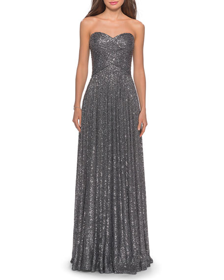 La Femme Sequin Strapless Sweetheart Column Gown