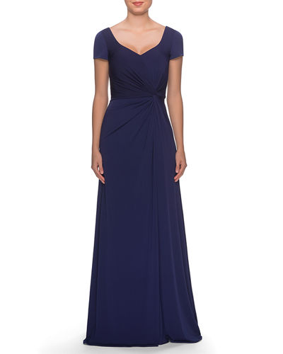 V-Neck Cap-Sleeve Jersey Gown with Knot & Ruching