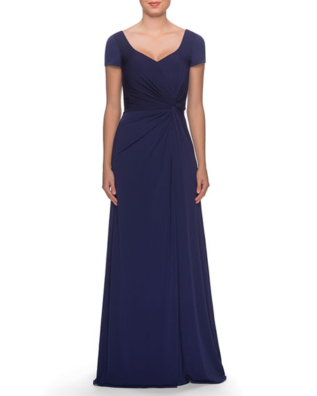La Femme V-Neck Cap-Sleeve Jersey Gown with Knot & Ruching