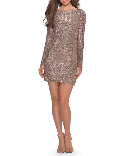 Sequin High-Neck Long-Sleeve T-Shirt Style Cocktail Dress
