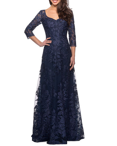 V-Neck 3/4-Sleeve Lace Gown with Mesh Illusion