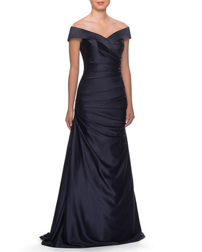 Off-the-Shoulder Ruched Satin Gown