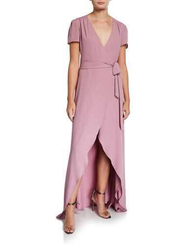 The Zoey Short-Sleeve High-Low Wrap Dress