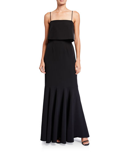 WAYF The Dominic Sleeveless Popover Trumpet Skirt Gown