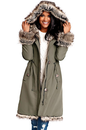 Fabulous Furs Faux Fur-Trim Hooded Storm Coat