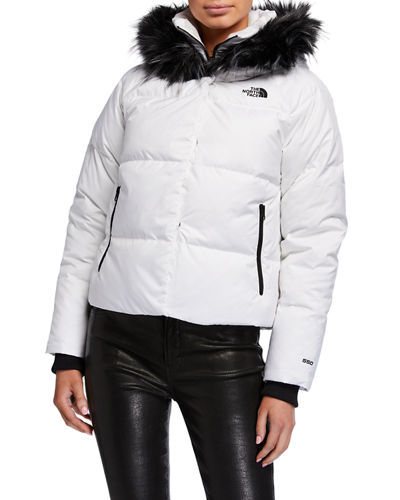 Dealio Down Crop Jacket w/ Faux Fur