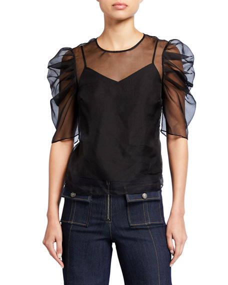 cinq a sept Erin Silk Organza Ruched-Sleeve Top