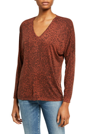 XCVI Leopard Print V-Neck Top