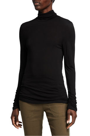 XCVI Cuff Turtleneck Long-Sleeve Jersey Top