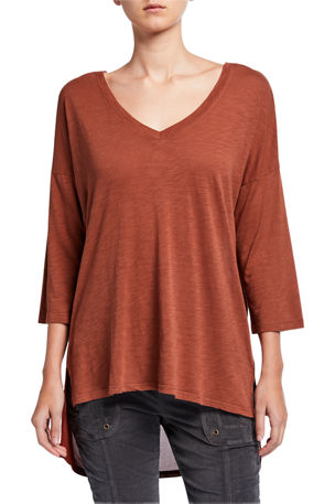 XCVI Isla V-Neck 3/4-Sleeve High Low Slub Jersey Top