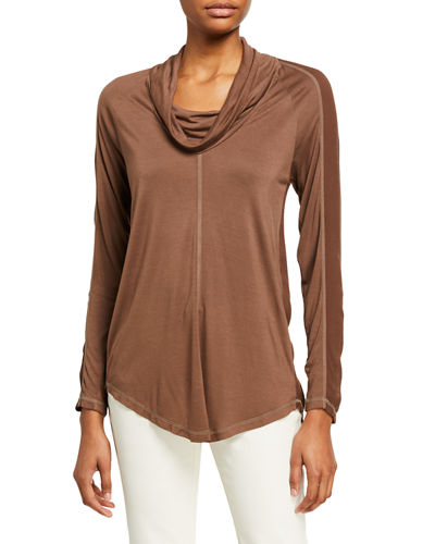 Madelina Cowl Neck Long-Sleeve Jersey Top