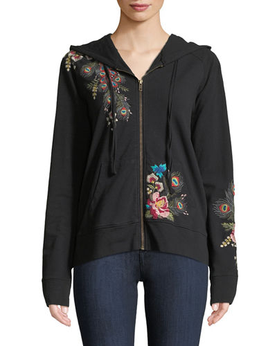 Johnny Was Petite Vernazza Embroidered Zip-Front Hoodie Jacket