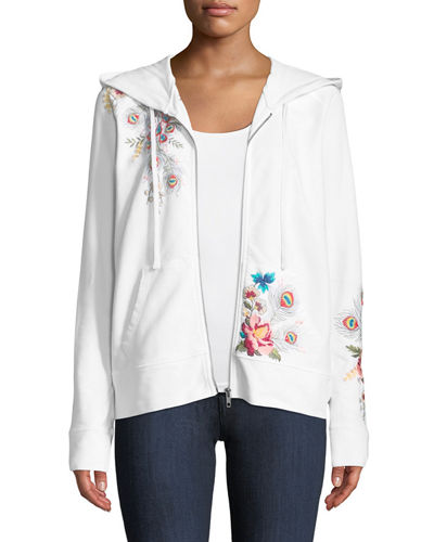 Petite Vernazza Embroidered Zip-Front Hoodie Jacket