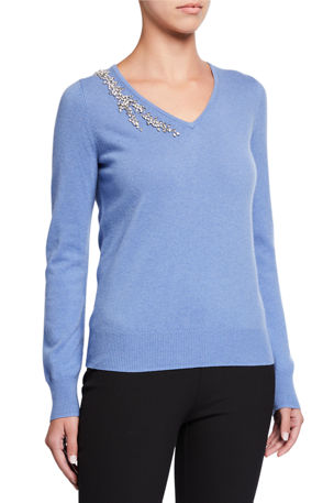 Neiman Marcus Cashmere Collection Cashmere Embellished V-Neck Sweater
