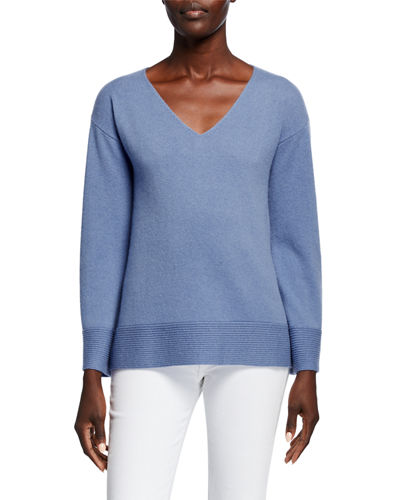 Cashmere V-Neck Pullover Sweater w/ Ribbed Cuffs & Hem