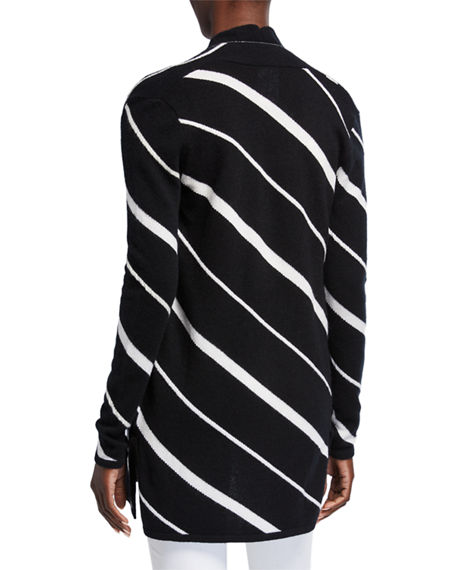 Image 3 of 3: Neiman Marcus Cashmere Collection Diagonal Striped Cashmere Cardigan w/ Chain Trim
